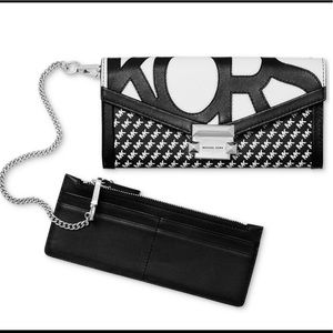 Michael Kors Logo Black & White Carryall Wallet